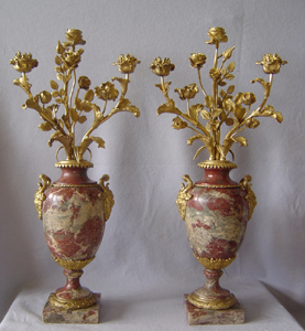 Pair of Russian marble and ormolu mounted three branch candela