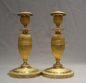 Russian antique ormolu candlesticks.