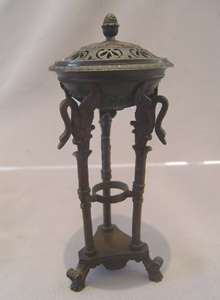 Fine antique French or English early 19th century patinated bronze pastille burner