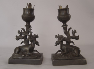 Antique pair candlesticks, English Regency period of two deer.