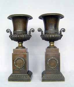 Antique pair French Empire urns in patinated bronze.