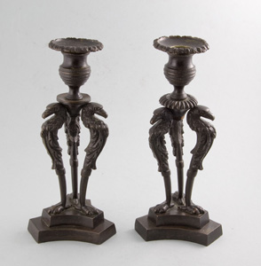 Antique English Regency candlesticks in patinated bronze
