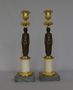 Antique Pair Empire figural candlesticks in ormolu, patinated bronze and marble