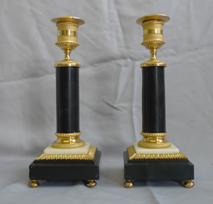 Pair candlesticks, English George III in ormolu and black and white marble, antique.