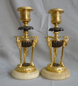 Pair antique candlesticks in ormolu, patinated bronze and marble.