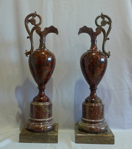 Fine pair of marble vases.