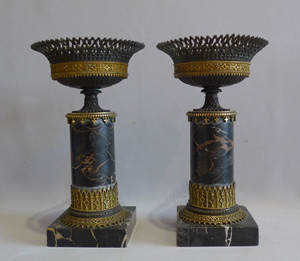 Antique Pair Gothic urns in ormolu, patinated bronze and marble.