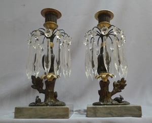 Pair antique English Regency lustre candlesticks in marble bronze and ormolu of owl and rabbit.
