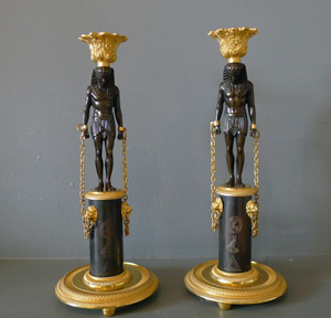 Pair Antique English Regency Egyptian style Egyptian revival  patinated bronze & ormolu candlesticks