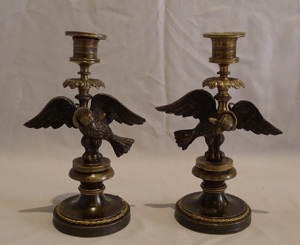 Antique pair of English Regency candlesticks in form of eagle with viper