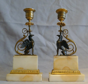 Pair antique English George III patinated bronze & ormolu Chambers pattern griffin candlesticks