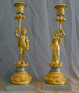 Antique French figural, Gothic pair candlesticks on silvered  bases, Charles X period.
