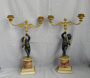 Fine antique early 19thC. Ormolu, patinated bronze, fleurospar and white marble figural candelabra.