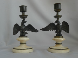 Antique pair of Regency candlesticks in form of eagle with viper