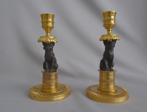 Antique pair of French Gout D'Egypt or Egyptian Revival ormolu and patinated bronze Cat Candlesticks